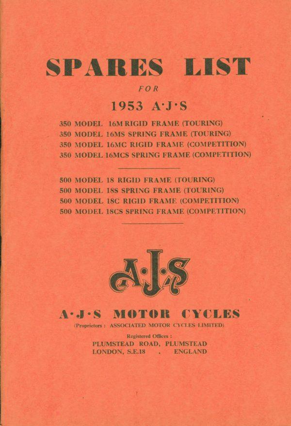 AJS Parts Book 1953