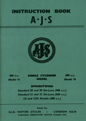 AJS Motorcycle Instruction Book All Models 1957-1960