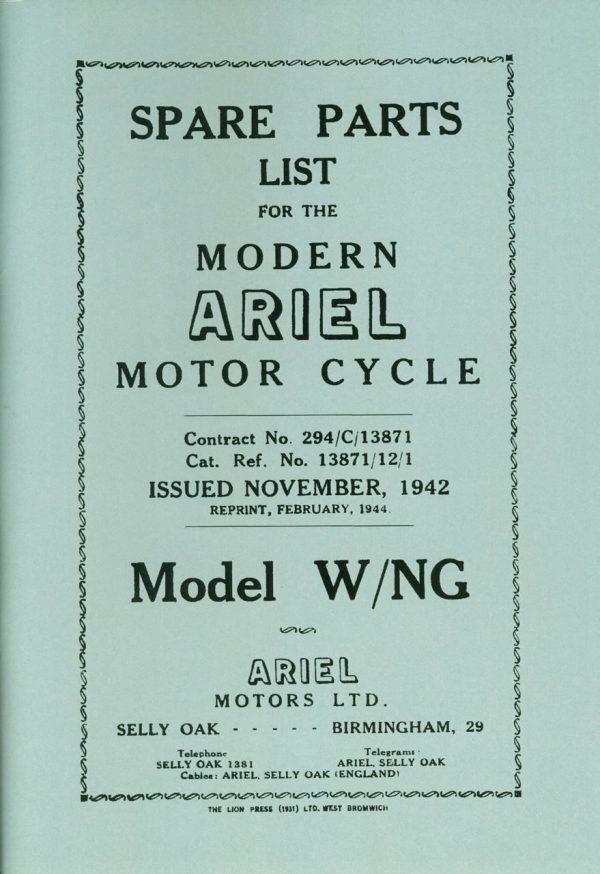 Ariel W NG Parts Book