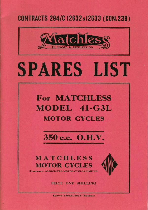 Matchless WD Parts Book For G3L 350 cc Solo