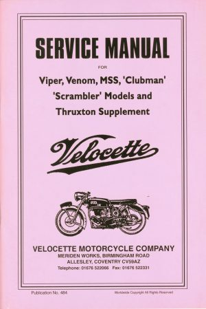 Velocette Venom Service Manual for Viper  Thruxton