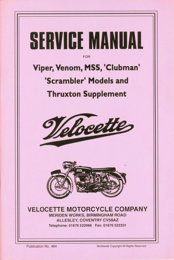 Velocette Venom Service Manual for Viper Thruxton