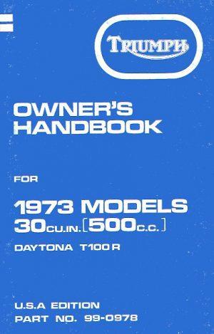 Triumph Owners Handbook Trophy T100C Trophy T100R Daytona USA Models 1972