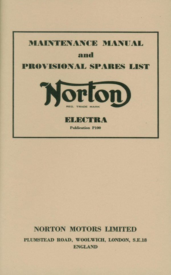 Norton Electra Maintenance Manual and Parts List