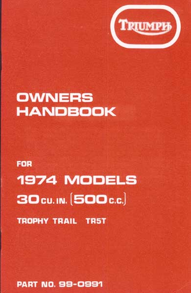 Triumph Owners Handbook TR5T 1974