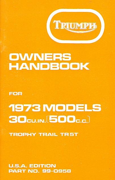 Triumph Handbook TR5T Trophy Trail