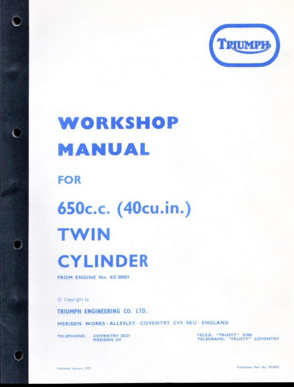 Triumph Workshop Manual 650 T120 1970-74