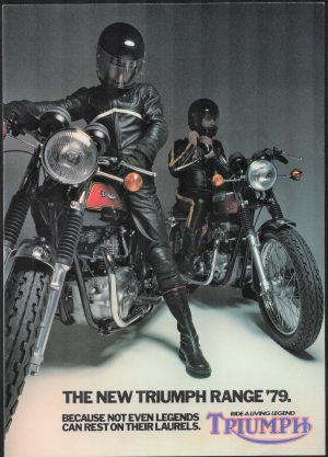 Triumph T140 Bonneville Tiger 750 UK and USA Models Motorcycle Brochure 1979 plus price list