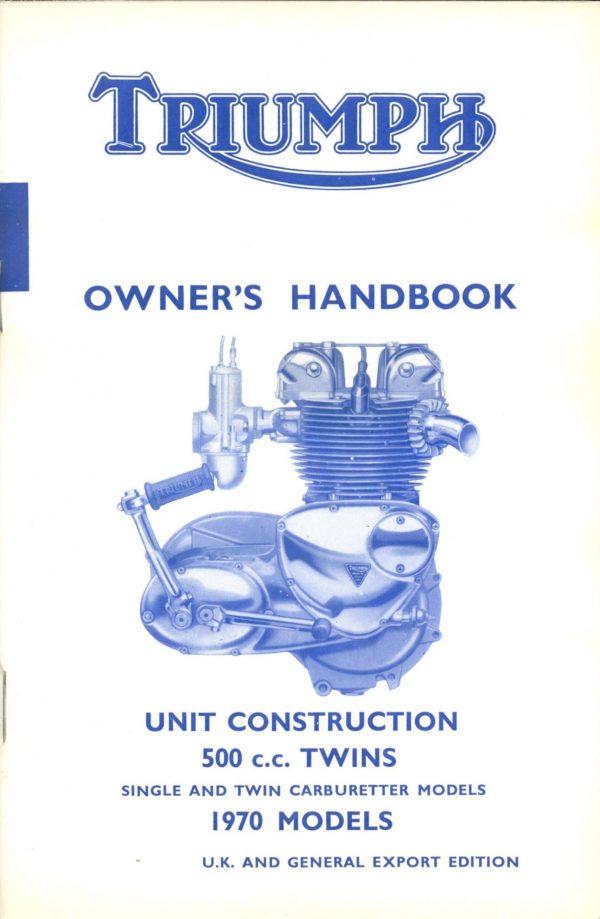 Triumph Owners Handbook 350 500 UK 1970