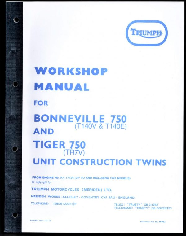 Triumph Workshop Manual 750 T140