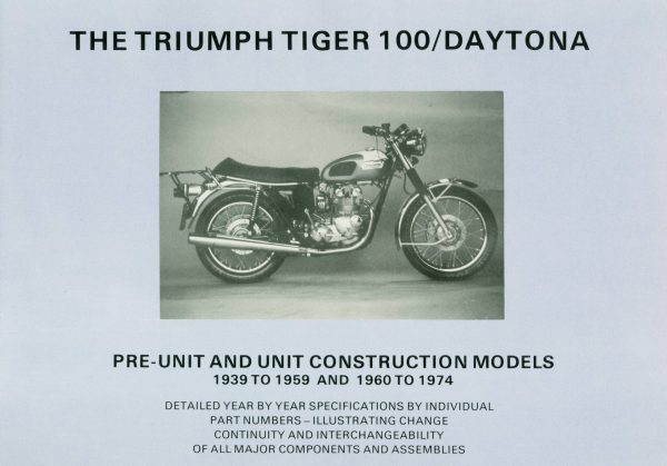 Triumph Tiger 100 Specifications book 1939 1974