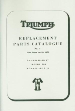 Triumph Parts Book 650 Thunderbird Trophy Bonneville 1965-1967 24875-o