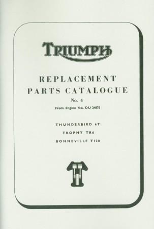 Triumph Parts Book 650 Thunderbird Trophy Bonneville 1965-1967 24875-o