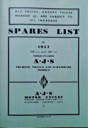AJS 1957 350 500 Parts Book