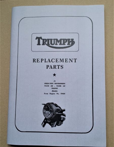 Triumph Speed Twin, Thunderbird, Tiger 100, Trophy Motorcycle Parts Book